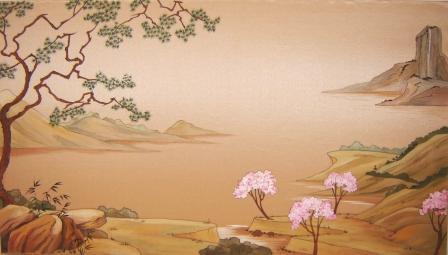 Сакура цветет 45х80 парча тушь